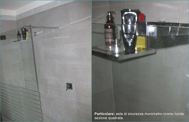 asta di sicurezza muro/vetro cromo lucido sezione quadrata