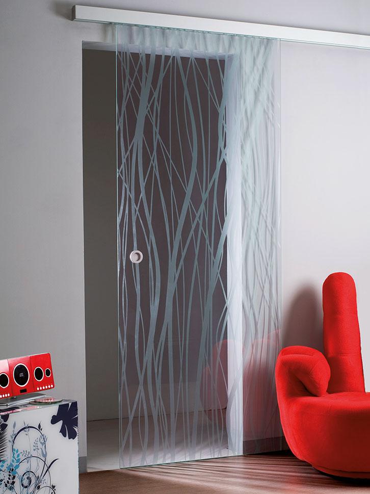 Sistema scorrevole Saheco con binario scatolato cristallo stampato fili su base trasparente